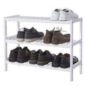 SONGMICS Schuhregal mit 3 Ebenen | für 9 paar Schuhe | 70 x 55 x 26 cm | Schuhständer aus Bambus | Schuhablage Standregal weiß LBS13W