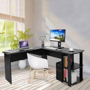 Eckschreibtisch Computertisch Schreibtisch MDF Winkelschreibtisch Schwarz 140 x 140 x 74 cm