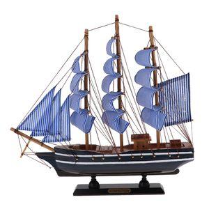 Hölz Segelboot Mittelmeerpiraten Schiffs Modell Blau 330 x 55 x 310 mm