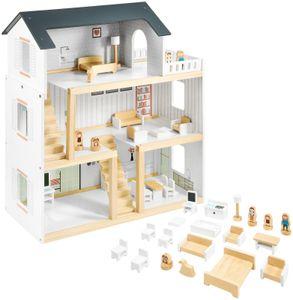 Puppenhaus aus Holz mit Möbeln und Zubehör 19-tlg - Puppenvilla mit 3 Etagen in Weiß