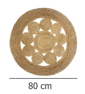 Deko-Teppich aus Jute, Ø 80 cm, rund, Boho-Stil