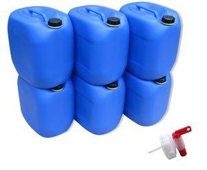 6 x 30 Liter Kanister Wasserkanister Campingkanister Farbe blau lebensmittelecht + 1 x Hahn (6x30knb + H.)