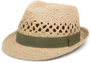 styleBREAKER luftiger Strohhut mit kontrastfarbigem Zierband, Sommerhut, Unisex 04025001, Farbe:Stroh / Oliv, Größe:L / XL = 58 cm