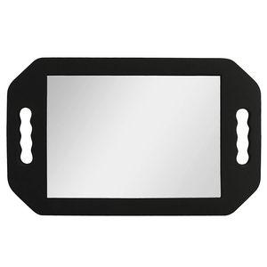 Leichter Handspiegel - Friseur Spiegel mit Schwarzem Schaumstoff Griffen für Barbiere, Salons und Friseure - Spiegel zum Schminken mit Doppelgriff - Hinterkopf Spiegel - Handspiegel mit Griff