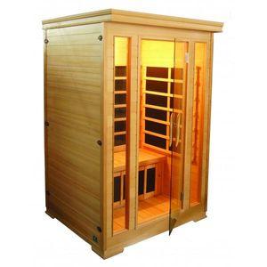 Infrarotkabine - Wärmekabine / 2 Personen / Hemlock-Holz / Carbon-Magnesium-Heizplatten / 120x120x190 cm