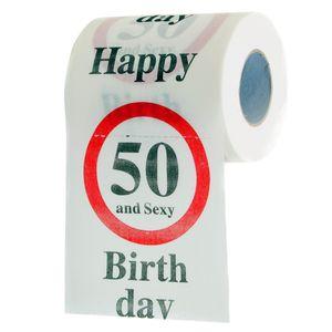 """Lustiges Fun Klopapier zum 50. Geburtstag Toilettenpapier Geschenkartikel Geburtstags-Dekoration """"50 und y!"""""""