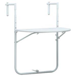 Balkonhängetisch Weiß 60 x 64 x 83,5 cm Kunststoff Rattanoptik