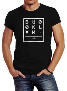 Herren T-Shirt Brooklyn New York City Urban Slim Fit Neverless® schwarz XXL