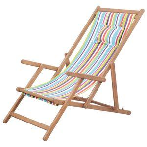 Hochwertigen Klappbarer Strandstuhl/Relaxliege/Strandliege/Gartenliege Stoff und Holzrahmen Mehrfarbig #DE9100
