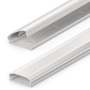 deleyCON Universal Kabelkanal Leitungskanal innovativer Klappmechanismus hochwertiges Aluminium Länge 100cm Breite 6cm Höhe 2cm - Weiß