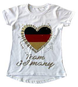 THREE OAKS Team Germany Kinder-T-Shirt angesagtes Sommer-Shirt mit Wende-Pailletten Weiß, Größe:116