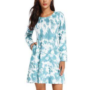 Damen Tie Dye Langarm Kleid Frühling Lose Casual Rundhalsausschnitt Taschen Kleid,Farbe: Grün,Größe:XL