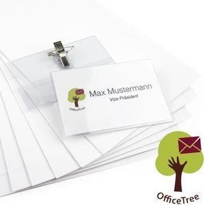 OfficeTree® 200 x professionelle Premium Kunststoff Namensschilder mit Halterclip und Nadel