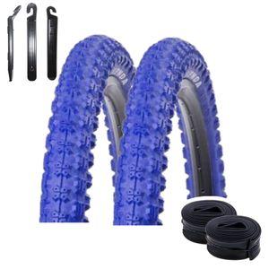 Angebot-Set / 2 x Kenda K-51 Fahrradreifen BMX Fahrradmantel in Blau 58-406 (20 x 2.25) + 2 passende Schläuche AV inkl. 3 Reifenheber