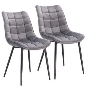 WOLTU 2er-Set Küchenstuhl mit Rückenlehne aus Samt Metallbeine Elif : hellgrau