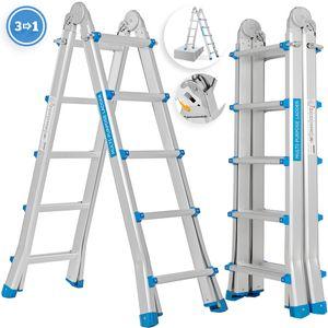 Masko® Aluminium Teleskopleiter Multifunktionsleiter Aluleiter Klappleiter Anlegeleiter , Länge:5.10m / 4x5 Sprossen Silber/Blau