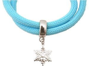 Damen Armband Wickelarmband 925 Silber Schneeflocke Blau