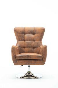 SIT Möbel Sessel in antikbraun Wildlederoptik, drehbar & höhenverstellbar|B69 x T77 x H95cm|02454-30|Serie SIT&CHAIRS
