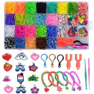 28 Gitter DIY Gummiband Strickgerät, Kinderspielzeug gewebt Armband Set, DIY Farbe Gummiband