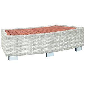 vidaXL Spa-Einstiegsstufe Hellgrau Poly Rattan 92x45x25 cm