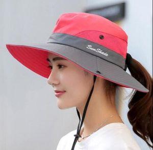 Sonnenhut Damen UV Schutz Hut Faltbar Wanderhut Gartenhut Boonie Fischerhut-Wassermelonenrot