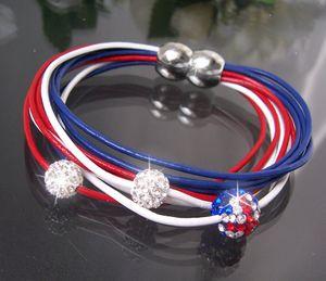 Armband Shamballa Leder Amerika Edelstahl Silber Strass A468