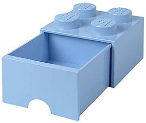 LEGO aufbewahrungsstein mit Schublade 4 Noppen 25 x 18 cm pp hellblau