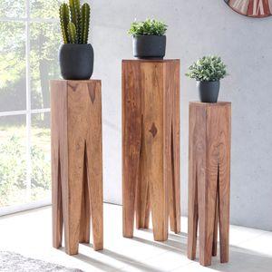 WOHNLING Beistelltisch 3er Set KADA Massivholz Akazie Wohnzimmer-Tisch Design Säulen Landhausstil Couchtisch quadratisch