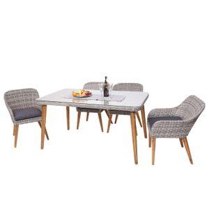 Garnitur MCW-H65, Sitzgruppe Garten-/Lounge-Set, Stahl + Akazie halbrundes Poly-Rattan Spun Poly  Kissen dunkelgrau