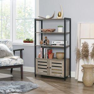 VASAGLE Bücherregale mit 3 Ablagen 2 Türen 121,5 x 70 x 30 cm im Industrie-Design Bücherschrank multifunktional greige-schwarz  LSC75MB