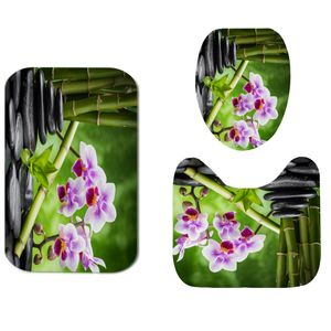3Pcs Bambus & Kiesel Druck Badezimmer Dekoration Wasserdichte rutschfeste Deckel Toilettendeckel Matte Teppiche