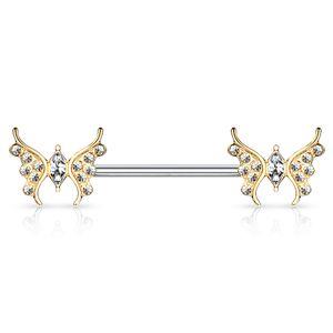 Brustwarzen Piercing Nippelpiercing Brustpiercing Schmetterling Butterfly Zirkonia Kristalle Autiga® gold-klar