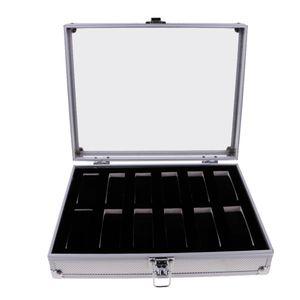 Uhrenbox Uhrengehäuse Aluminium Glas Top Schmuck Fall Veranstalter 12 Slots Silber wie beschrieben 12 Steckplätze