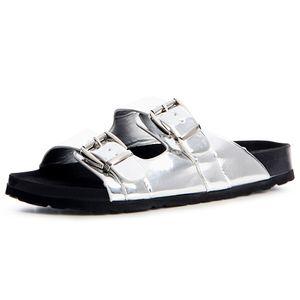 Damen Pantoletten Metallic Sandalen Riemchen Plateau 1202, Farbe:Silber, Größe:38 EU
