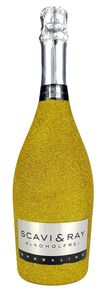 Scavi & Ray Alkoholfrei Sparkling 0,75l (<0,03% Vol) Bling Bling Glitzerflasche in gold -[Enthält Sulfite]