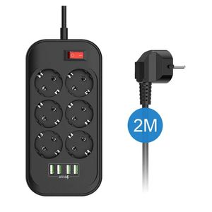 6 Fach Steckdosenleiste mit USB Steckdose Leiste Mehrfachstecker Wasserdicht Schalter