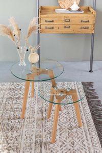 Luzo beistelltische Bror 40/50 cm Holz/Glas natur 2-teilig