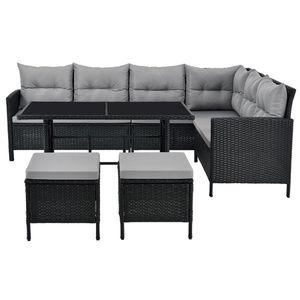 Juskys Polyrattan Lounge Manacor schwarz – Gartenlounge mit Sofa, Tisch, 2 Hocker & Kissen – Gartenmöbel Set bis 7 Personen – Sitzbezüge in Grau