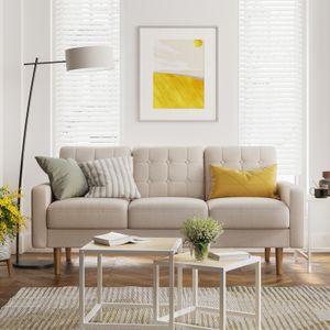 VASAGLE Sofa Couch Bezug aus Polyester Gestell und Beine aus Massivholz Polstermöbel modernes Design 182 x 80,5 x 84 cm beige LCS101M01