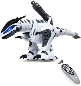 Ferngesteuerter Dino Roboter, Intelligenter Spielzeug Dinosaurier für Kinder, Lernspielzeug Roboter, Interaktiver & Programmierbarer Roboterdino, Roboter Dinosaurier mit Licht & Sound (Weiss)