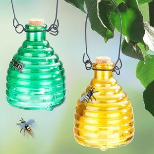 Wespenfalle Glas Grün und Gelb