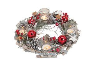 Davartis - Holz Adventskranz mit Kugeln rot + 4 Teelichthaltern