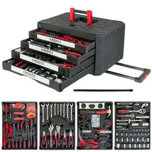 AREBOS Werkzeugkoffer bestückt   300-teilig   4 Schubladen   Rollkoffer gefüllt mit Werkzeug