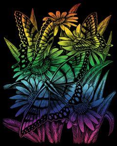 Royal & Langnickel RAIN27 Kratzbild Schmetterlinge und Gänseblümchen
