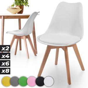 MIADOMODO® Esszimmerstühle 2er 4er 6er 8er Set - Skandinavischer Stil, gepolstert mit Sitzkissen, aus Kunststoff & Massivholz, Farbwahl - Vintage, Retro, Küchenstuhl, Stühle (2er, Weiß)