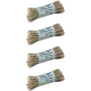 folia 901004 Raffia Naturbast, 4 Bündel je 50g, natur (200 g)