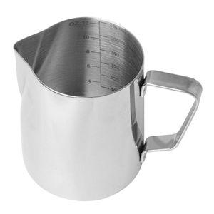 Milchschaumkrug für Latte Art Edelstahl Kaffeeschaumkrug 350ml Silber