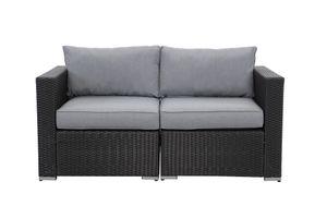 MeXo Gartenmöbel Polyrattan Lounge Sitzgruppe Gartenset Möbel Schnittsofa Flexible Kombination Sessel Kaffetisch Polsterhocker Schwarz & Grau