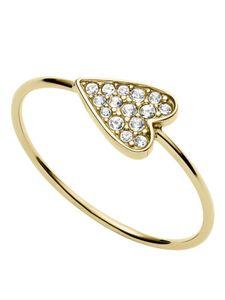 Fossil JF03262710508 Ring Herz cross my heart Gold Weiß 56 (17.8)