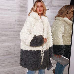 Frauen Kunstpelz Langer Mantel Jacke Mit Langen aermeln Umlegekragen Spleissen Vintage Pelzigen Winter Casual Mantel Outwear Weiss
